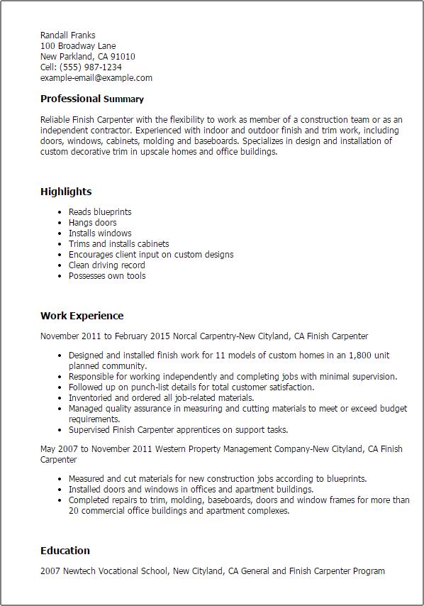 carpenter job description resume resume sample