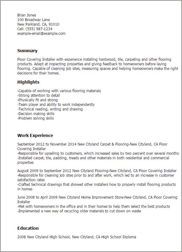 floor installer resume sample