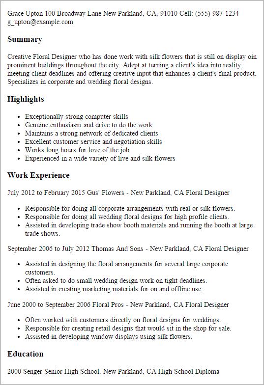 floral designer sample resume