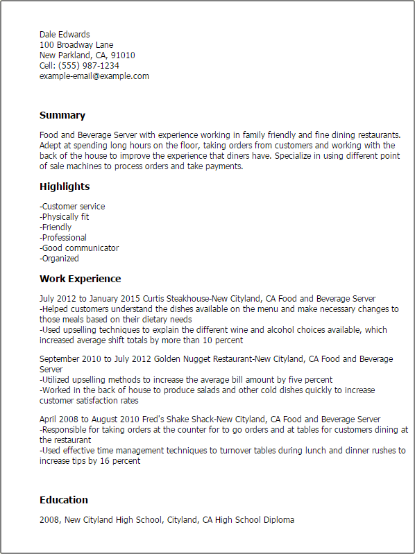 food and beverage server resume