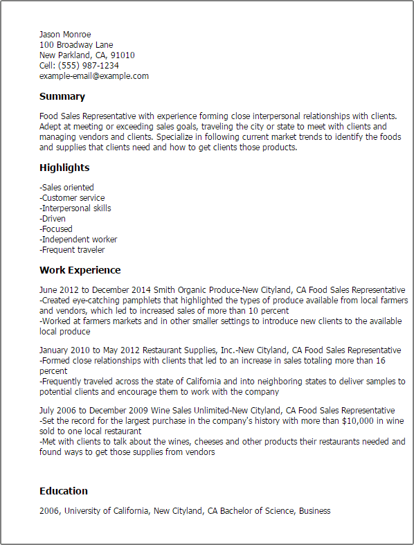 food sales resume sample