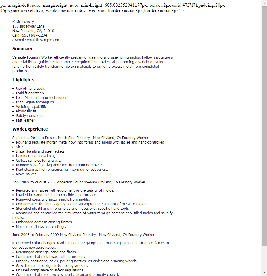 Resume Templates: Foundry Worker