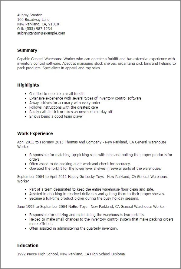 general resume examples for warehouse worker