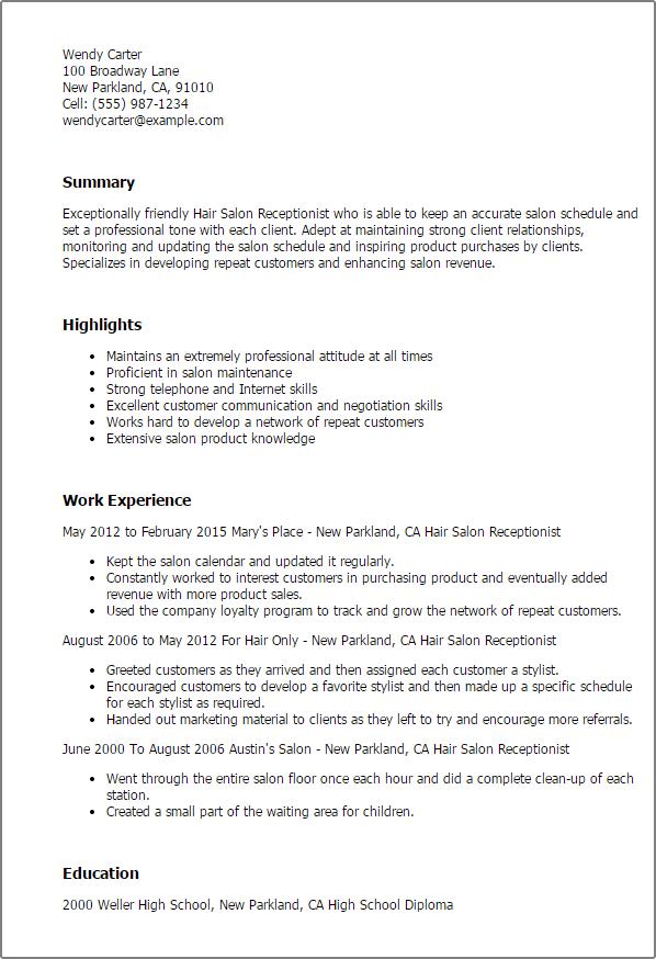 hair salon receptionist resume