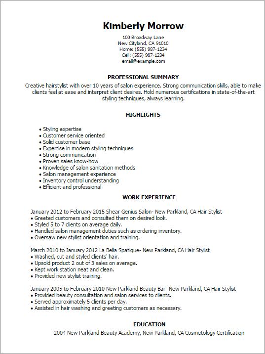 salon resume templates
