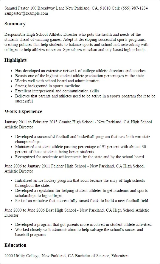 High School Athletic Director Resume Template — Best