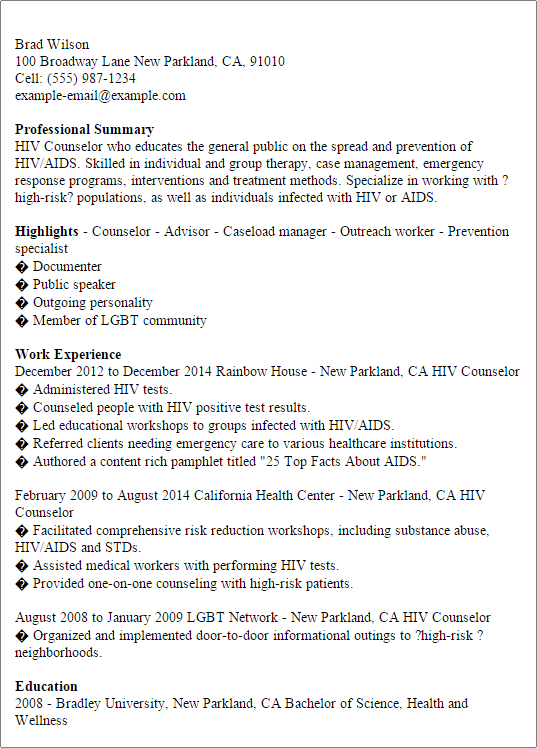 Hiv Counselor Cover Letter - Cover Letter Resume Ideas - tedata.us