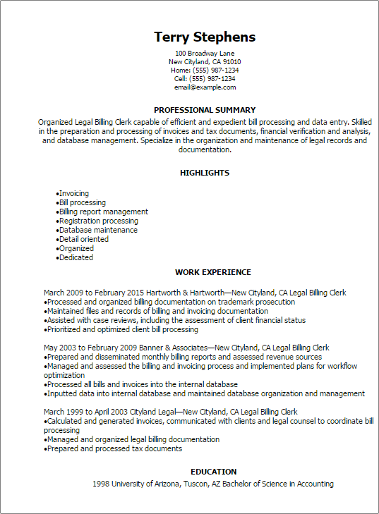invoicing resume sample
