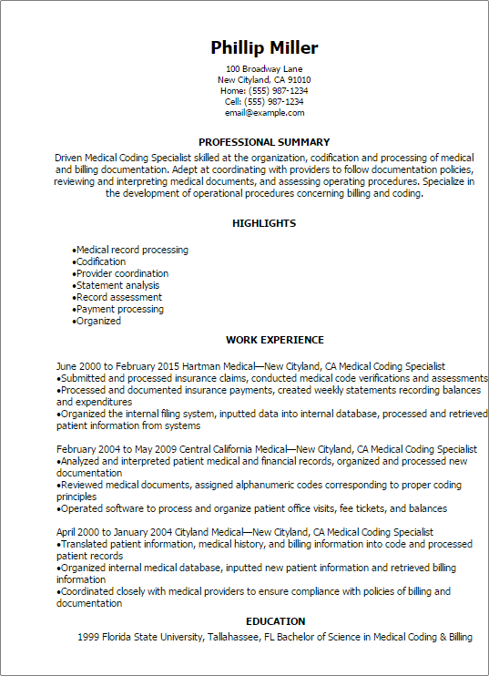 sample resume for medical billing and coding student