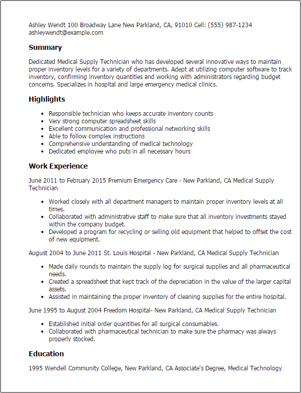 1 Medical Supply Technician Resume Templates Try Them