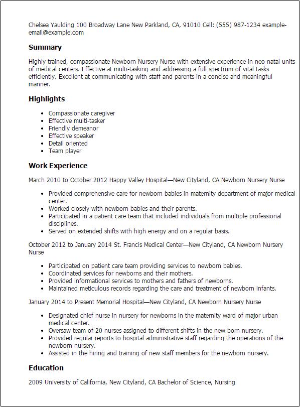 maternity nurse resume