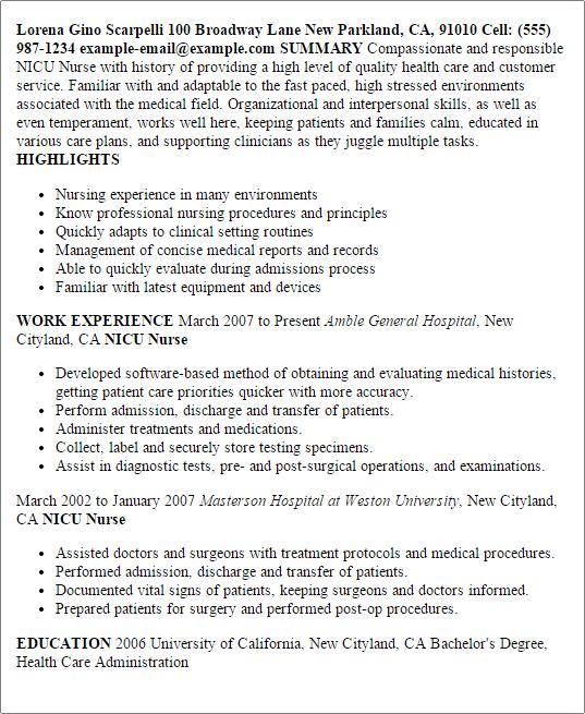 nicu rn resume sample