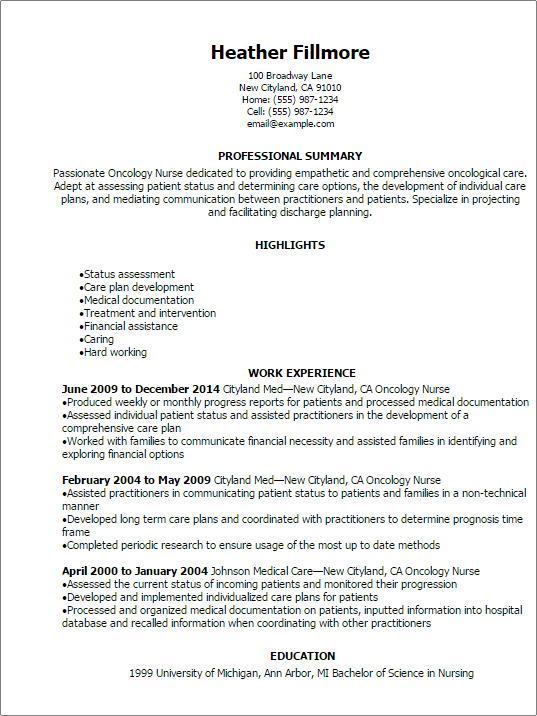 #1 Oncology Nurse Resume Templates Try Them Now