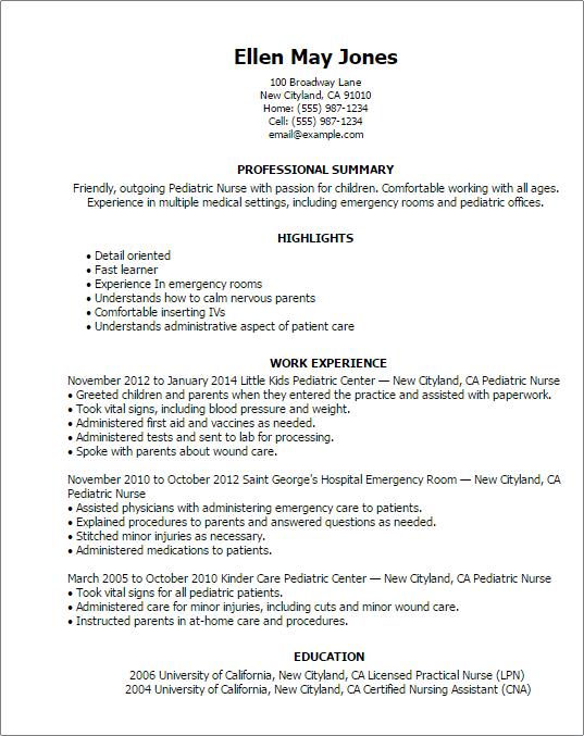 sample resume for lvn nurse