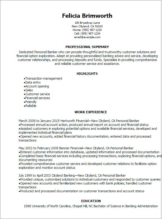 sample resume for personal banker position