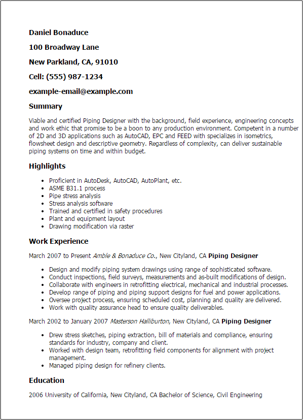 senior piping designer resume sample
