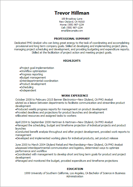 Professional Pmo Analyst Resume Templates To Showcase Your