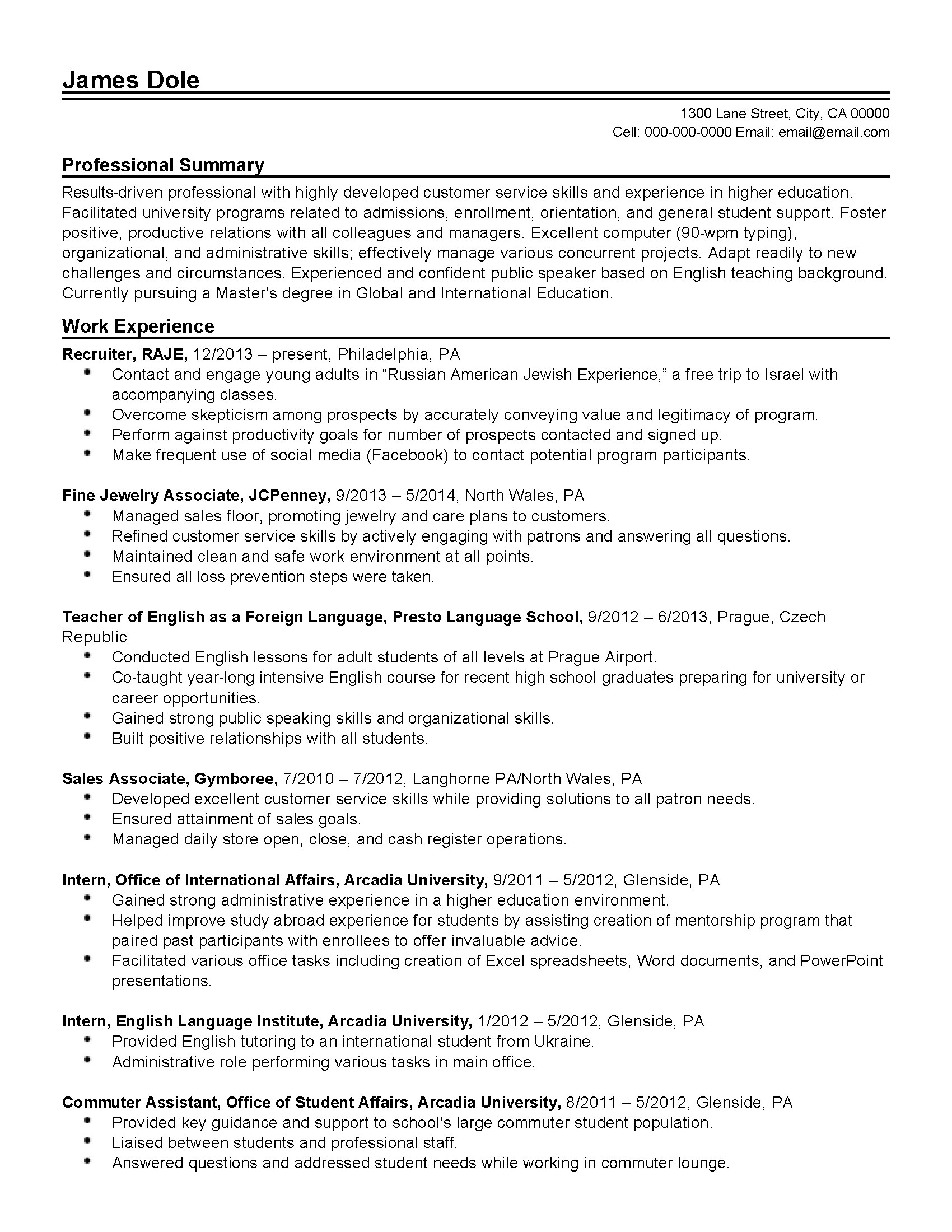 Administrative Resume Templates Word