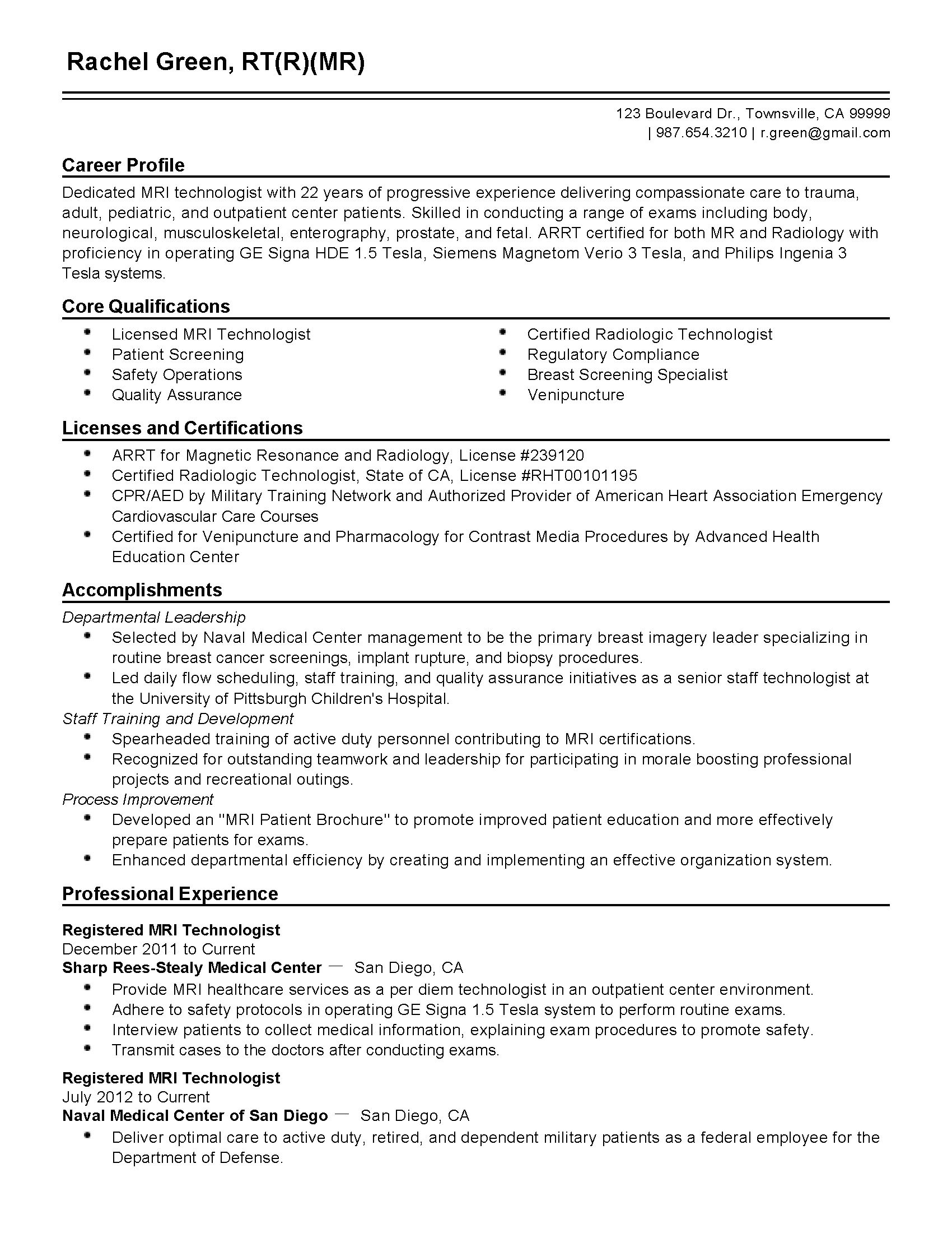mri technologist resume sample