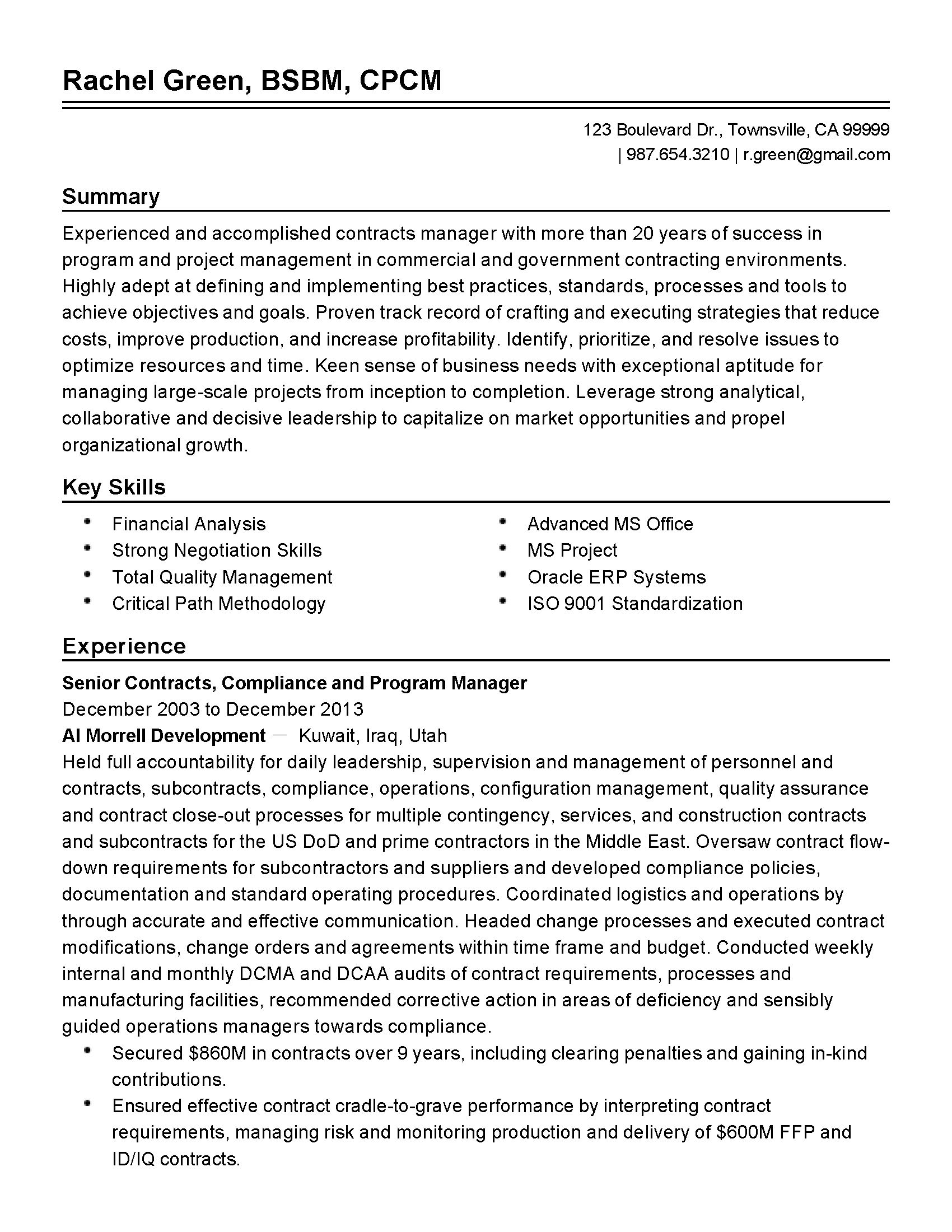contract administrator resumes