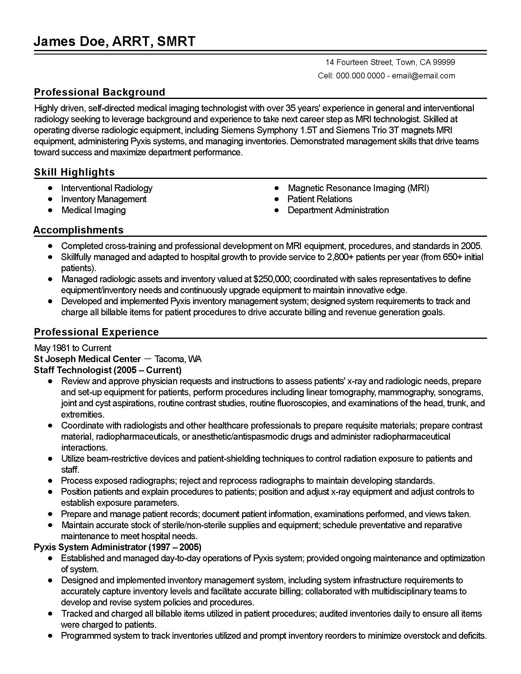 Resume Templates: Medical Imaging Technician