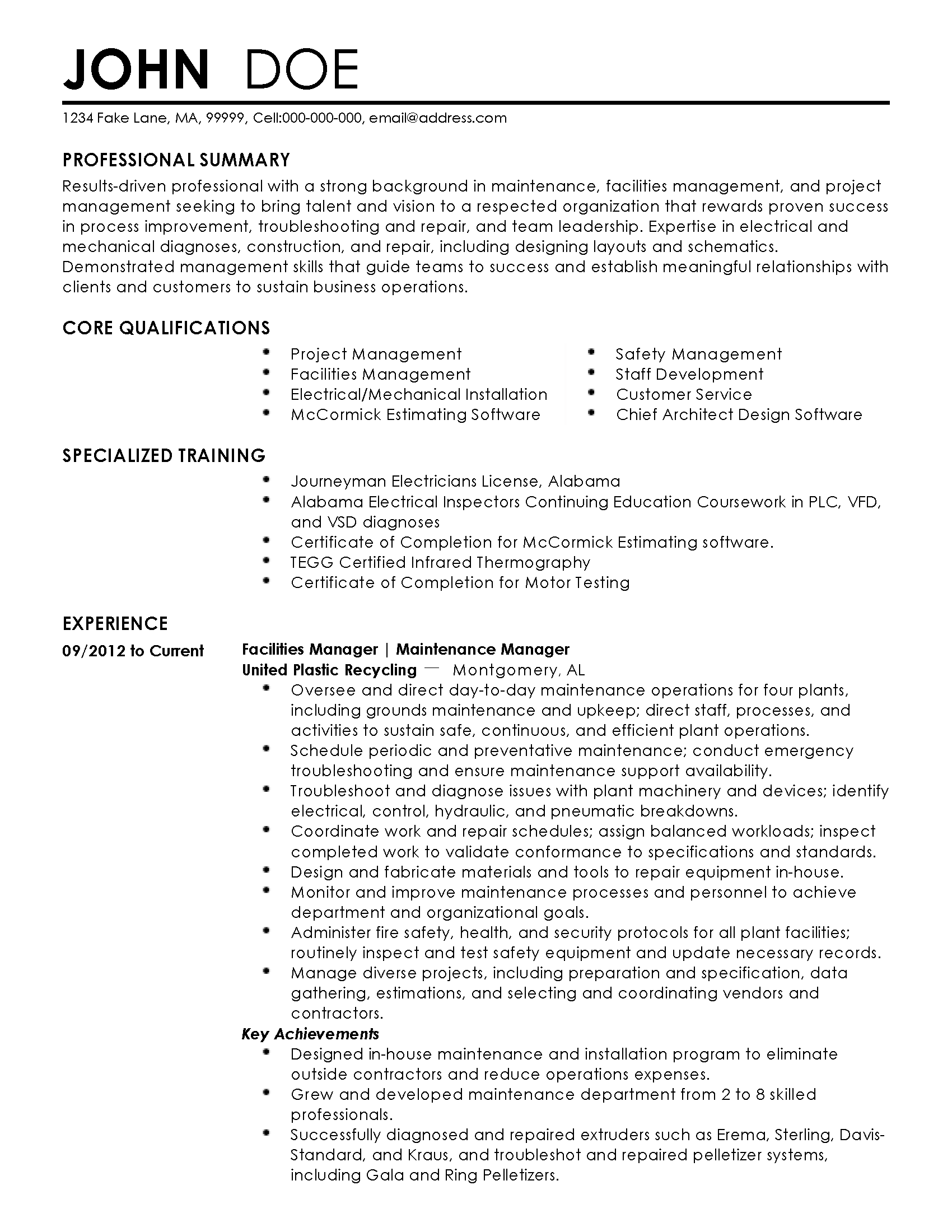 Resume Templates: Facilities Manager