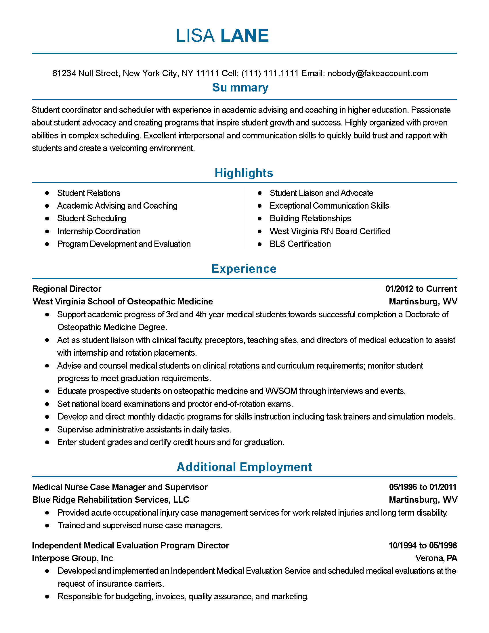 Parks And Recreation Resume Examples. Professional Student Coordinator  Templates To Showcase Your Talent .