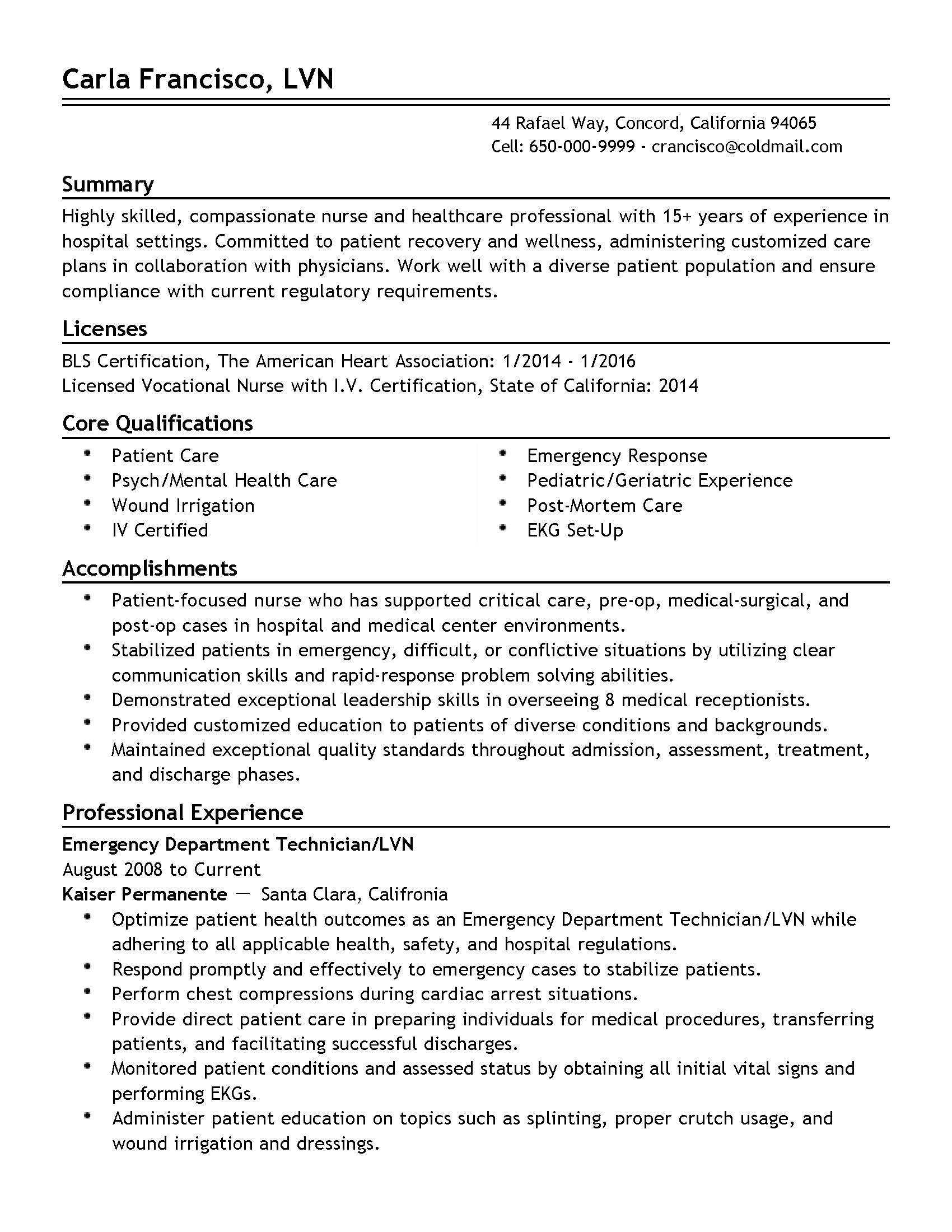 Resume Templates: Emergency Department Technician. Build My Resume