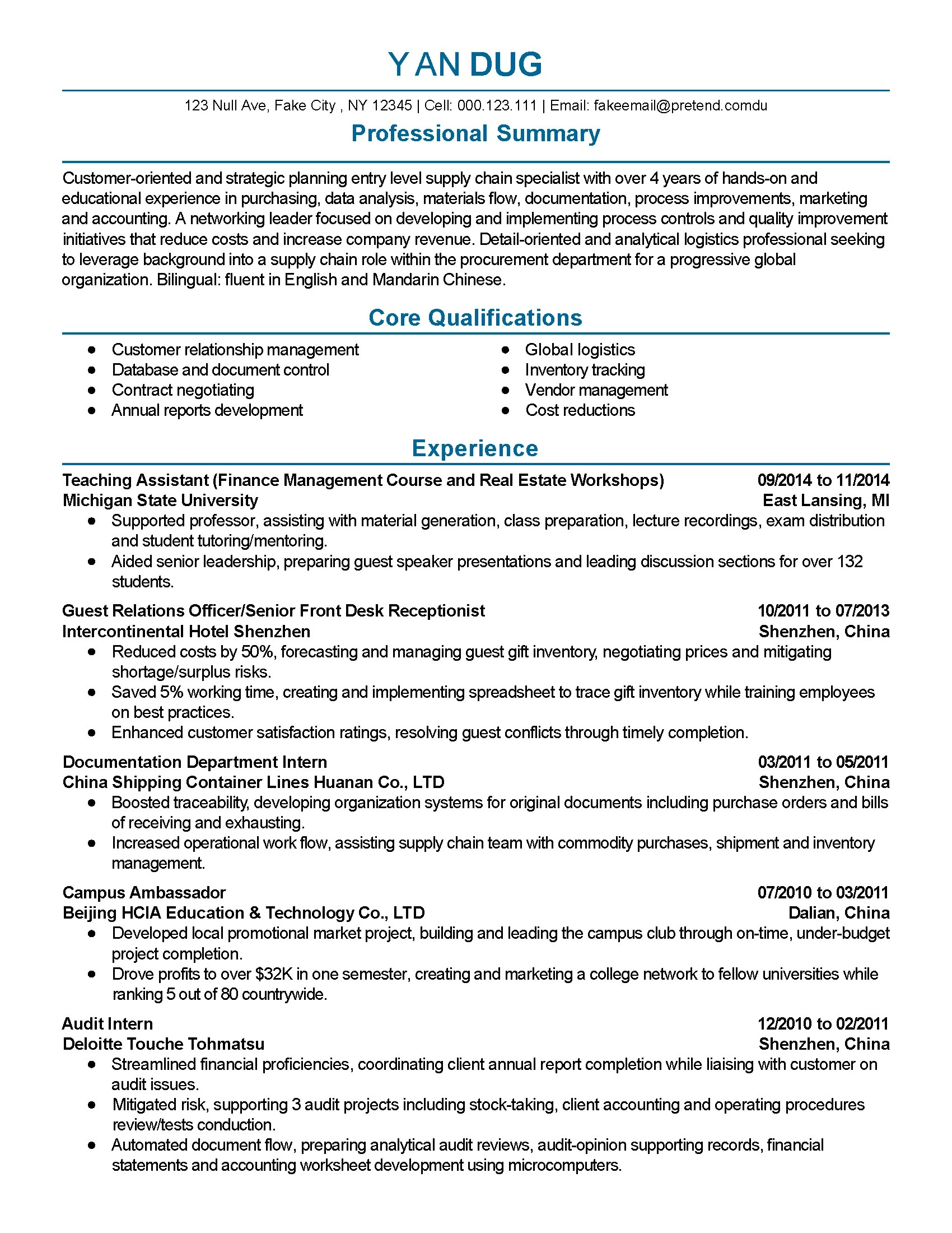 Resume Templates: Supply Chain Specialist
