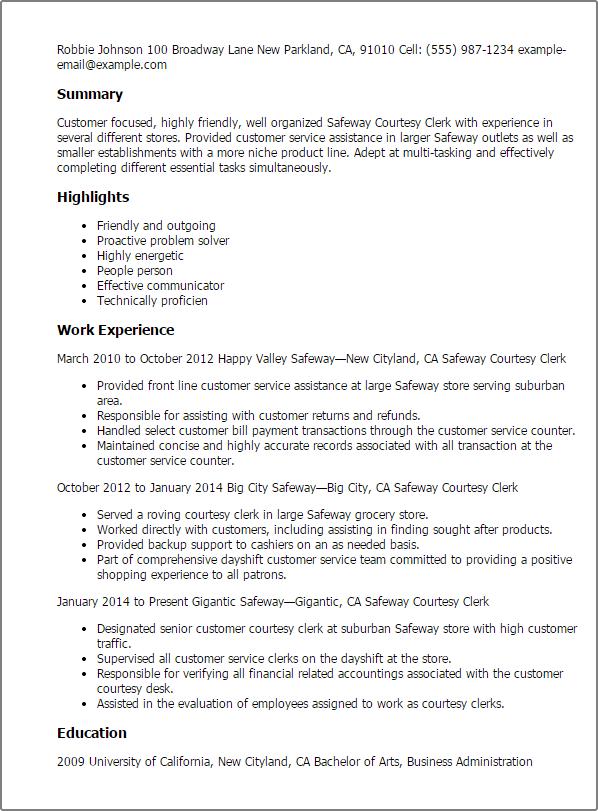 courtesy clerk resume