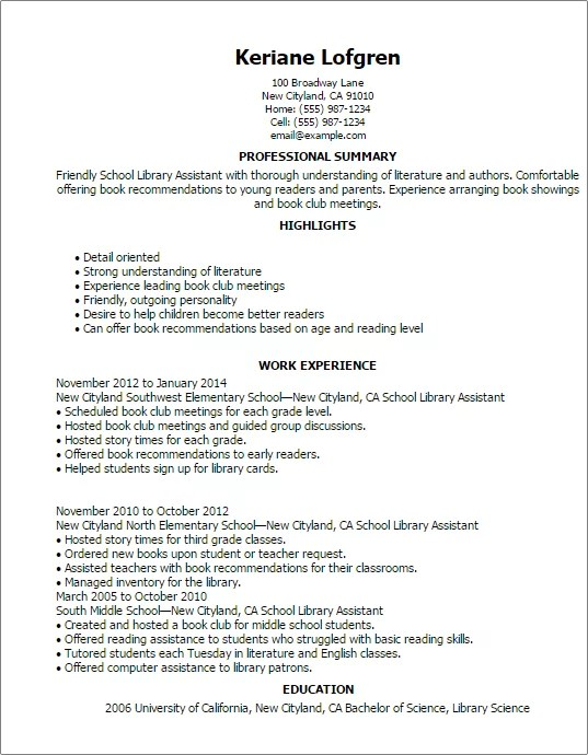 School Library Assistant Resume Template — Best Design