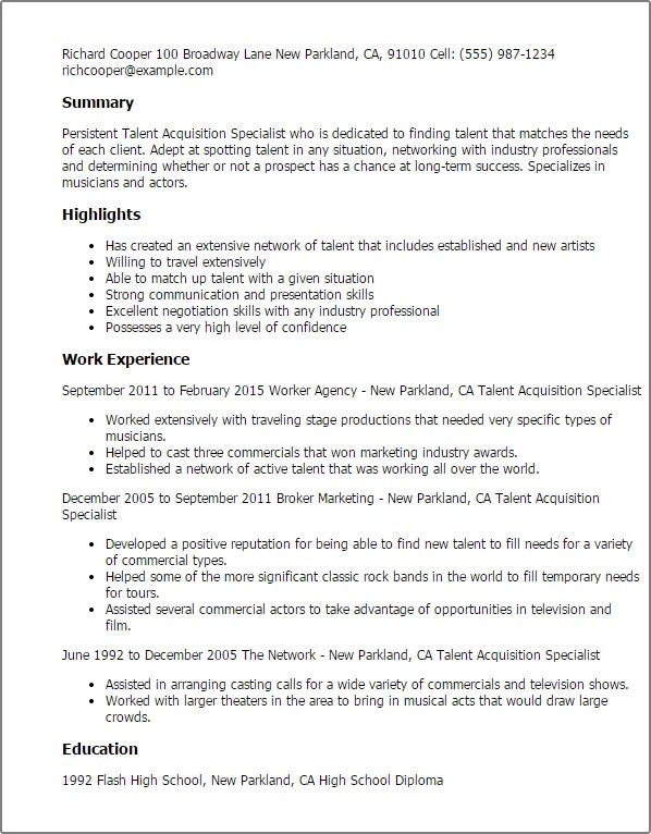 #1 Talent Acquisition Specialist Resume Templates Try