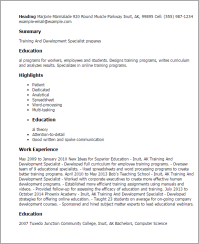Training And Development Specialist Resume Template  Best ...