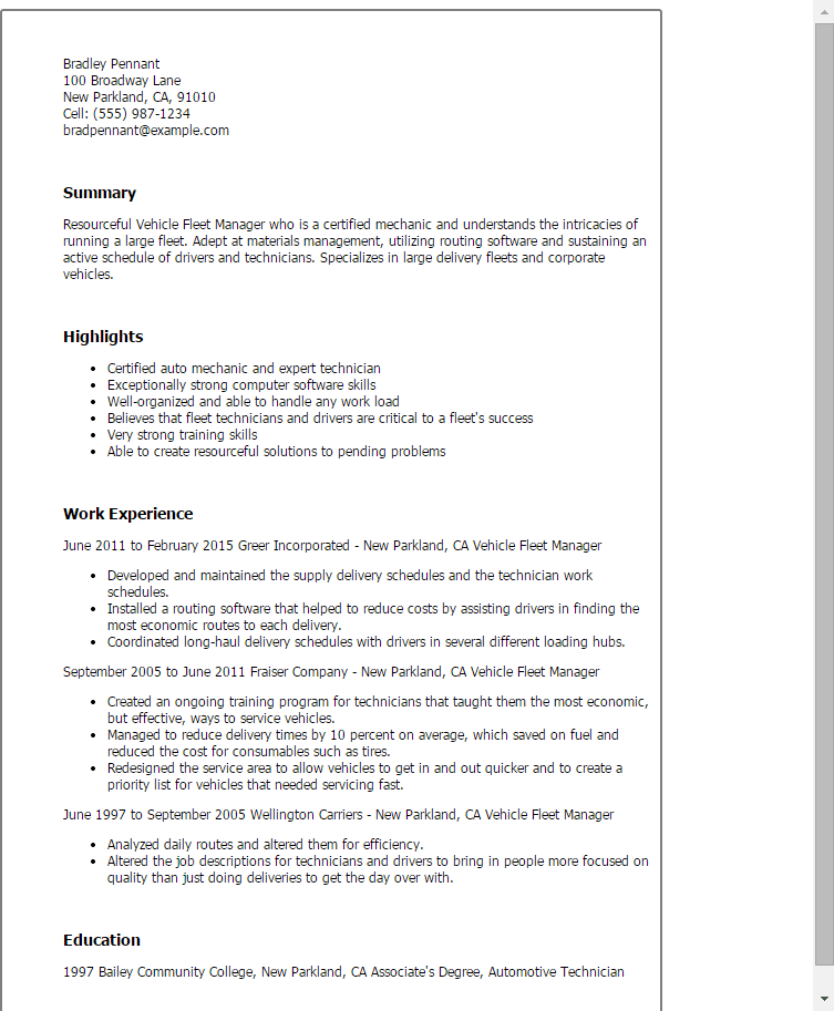 1 Vehicle Fleet Manager Resume Templates Try Them Now  MyPerfectResume