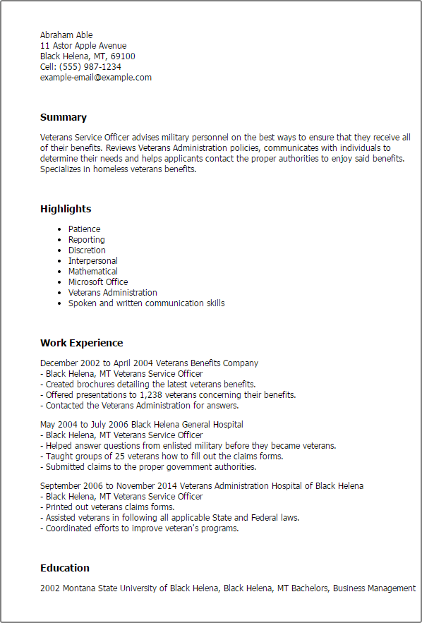 resume templates veterans