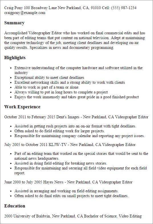 sample resume videographer