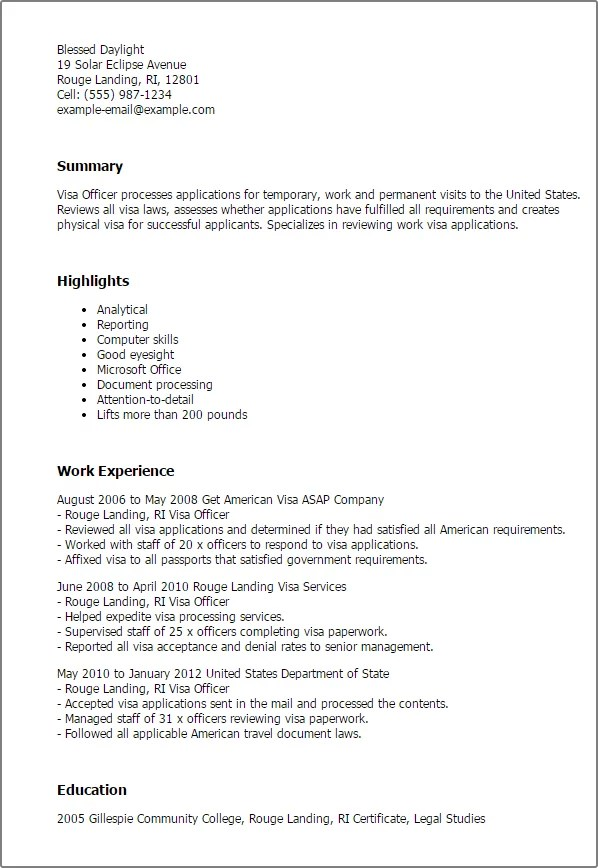 #1 Visa Officer Resume Templates Try Them Now