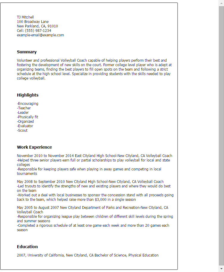volleyball coaching resume samples
