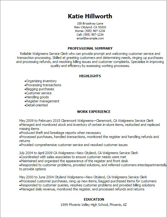 sample resume walgreens