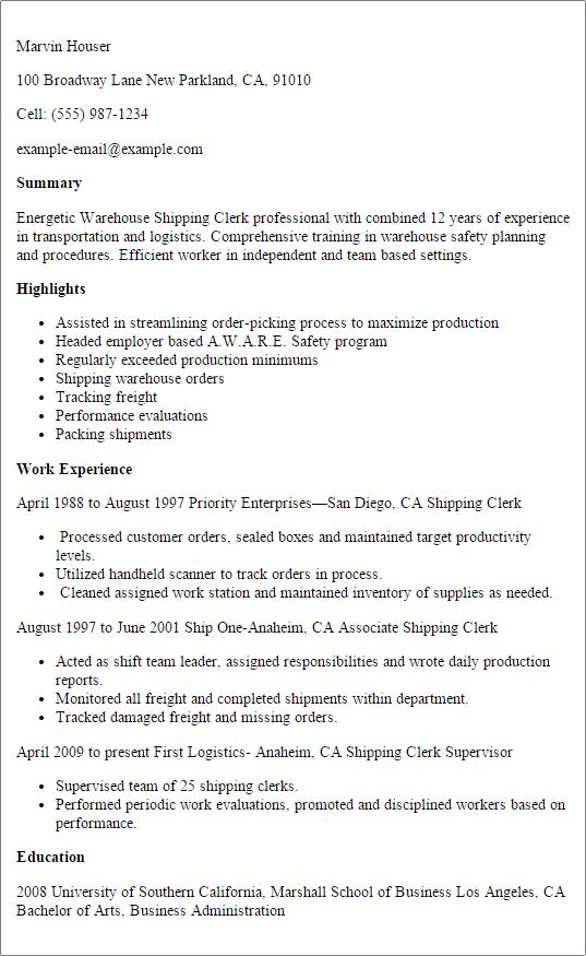 receiving resume templates
