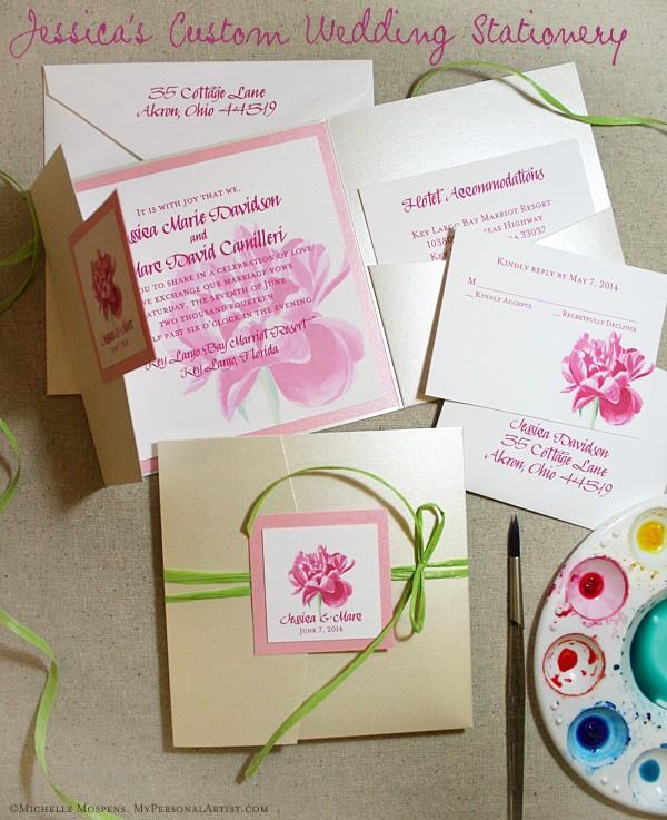 Rose Gold Fl Pink Green Wedding Invitations Jayne Austin Beautiful Invites United States Us