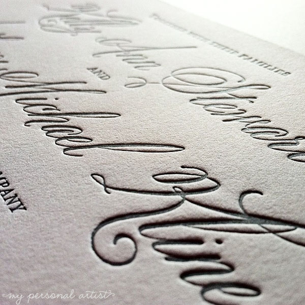 letterpress wedding invitations gray