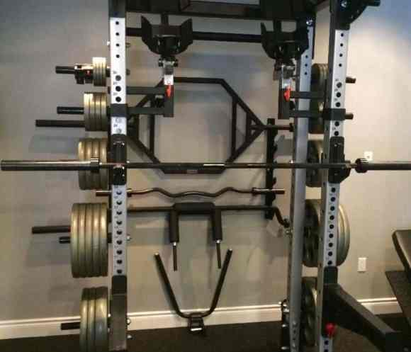 Power rack home gym setup