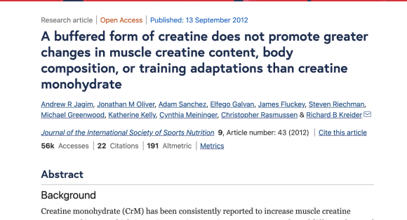 A buffered form of creatine does not promote greater changes