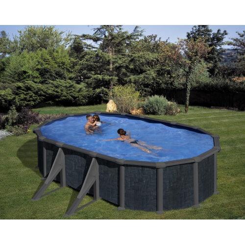 piscine hors sol aspect rattan 527 x 327 x h 132 cm