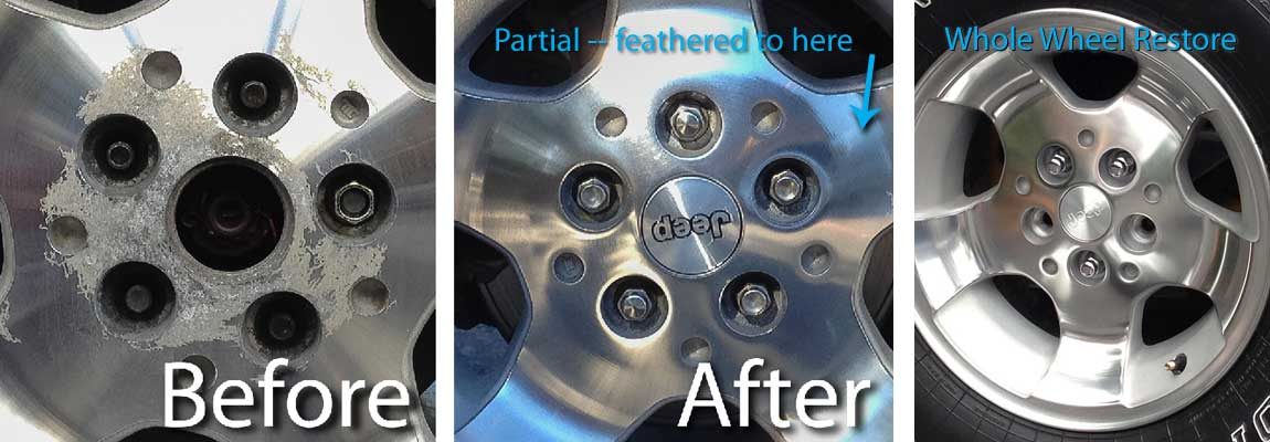 Before and after pics of a partial restoration where sanding was feathered beyond the lug nut area followed by a full whole wheel restoration of a similarly corroded canyon wheel/rim on the right.