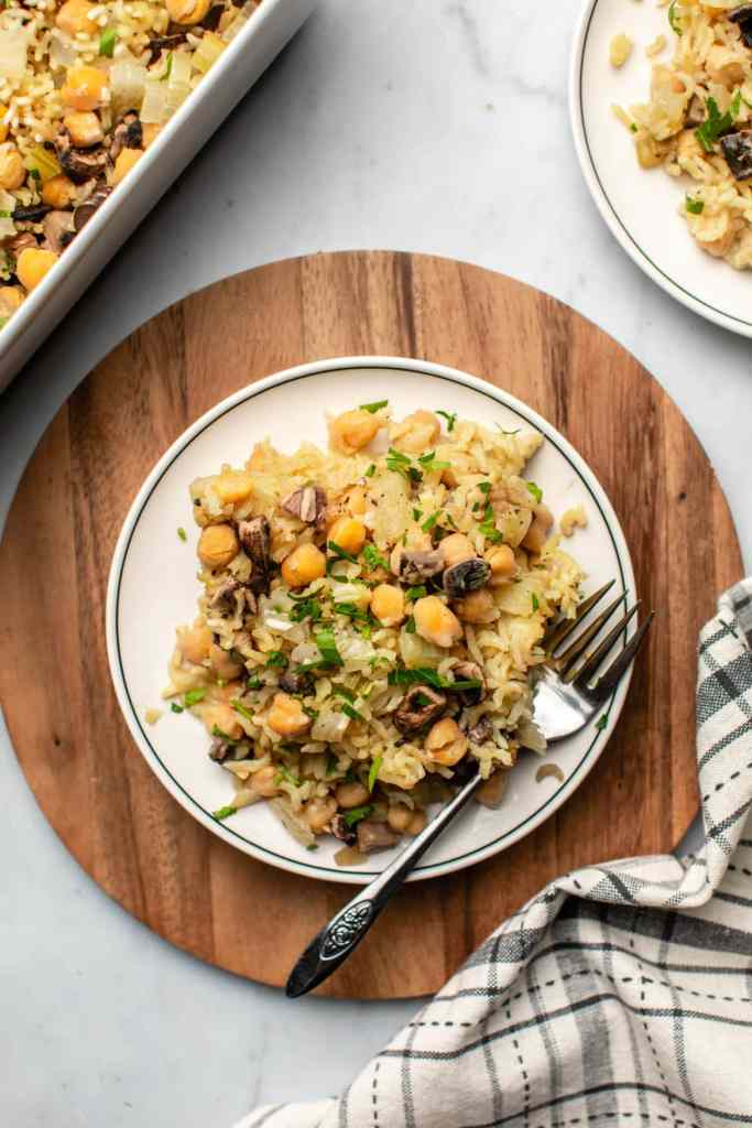 Vegan chickpeas and rice casserole served on plate