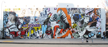 Faile Mural and Totem @ Houston and Bowery