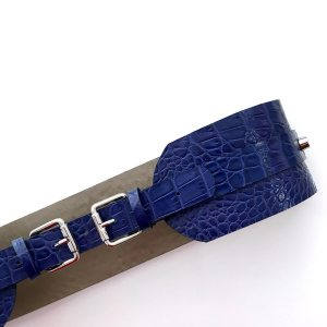 BELT WITH 2 BUCKETS Blue Croco