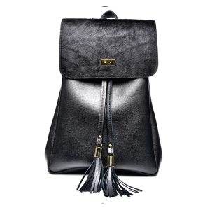 BACKPACK PLIK Black Saffiano Black pony